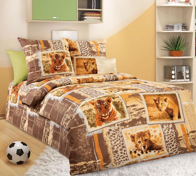 """Постельное белье """"Зов джунглей"""" коричневый (бязь) 1,5 спальный"""