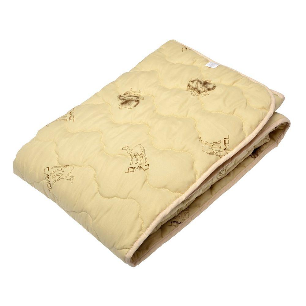 """Одеяло летнее """"Верблюд"""" (верблюжья шерсть, тик) 1,5 спальный (140*205)"""