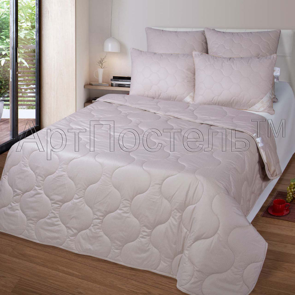 """Одеяло облегченное """"Джин"""" (верблюжья шерсть, тик) Евро-1 (200*220)"""