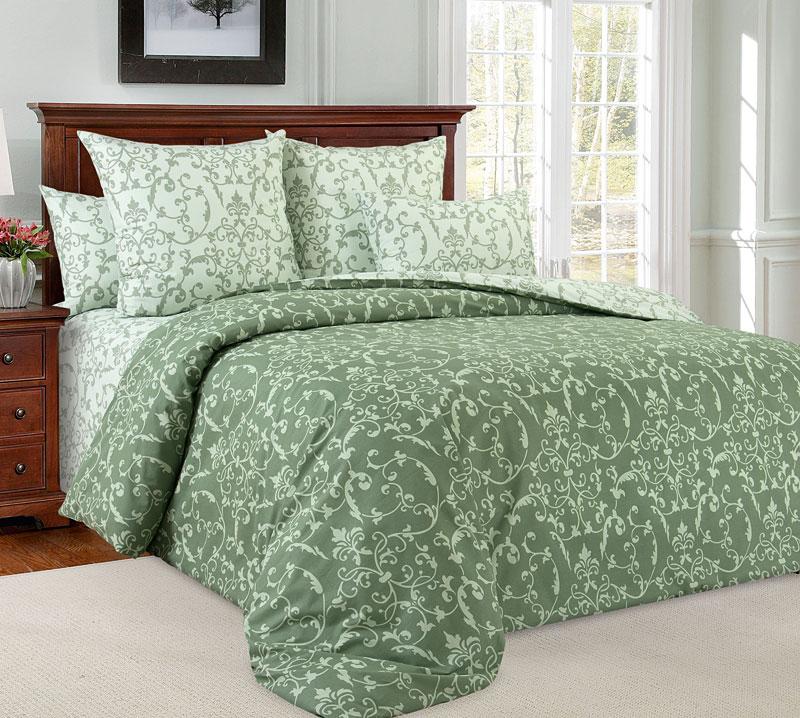 Постельное белье Вирджиния зелёный (перкаль) (2 спальный) постельное белье альба перкаль 2 спальный