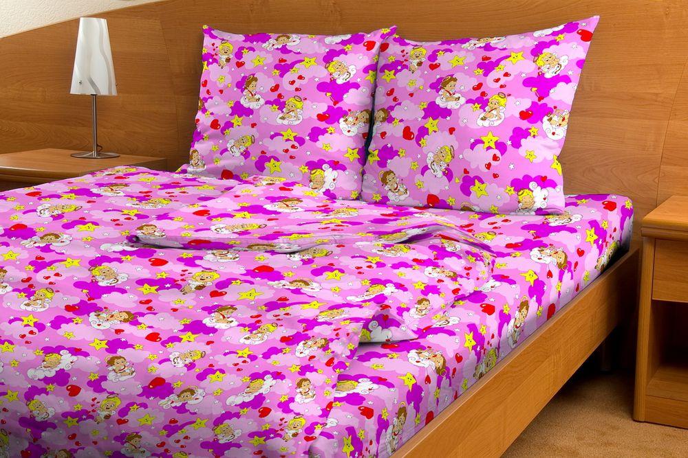 """Постельное белье """"Ангелы GS"""" розовый (бязь) 1,5 спальный"""