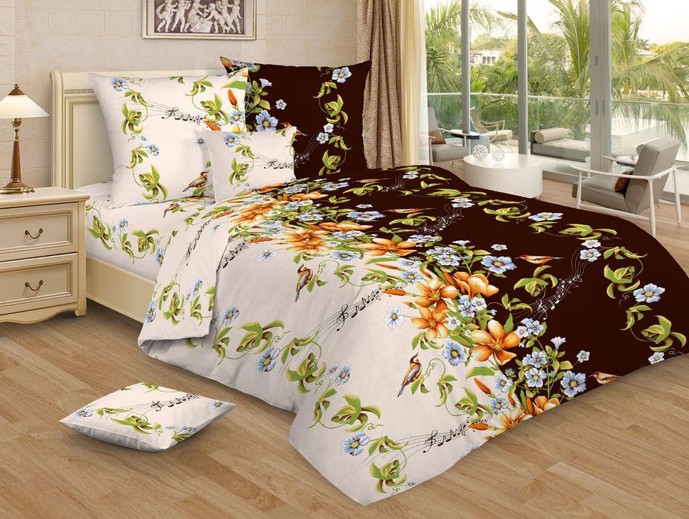 """Постельное белье """"Соловьиные трели GS"""" коричневый (бязь) 1,5 спальный"""