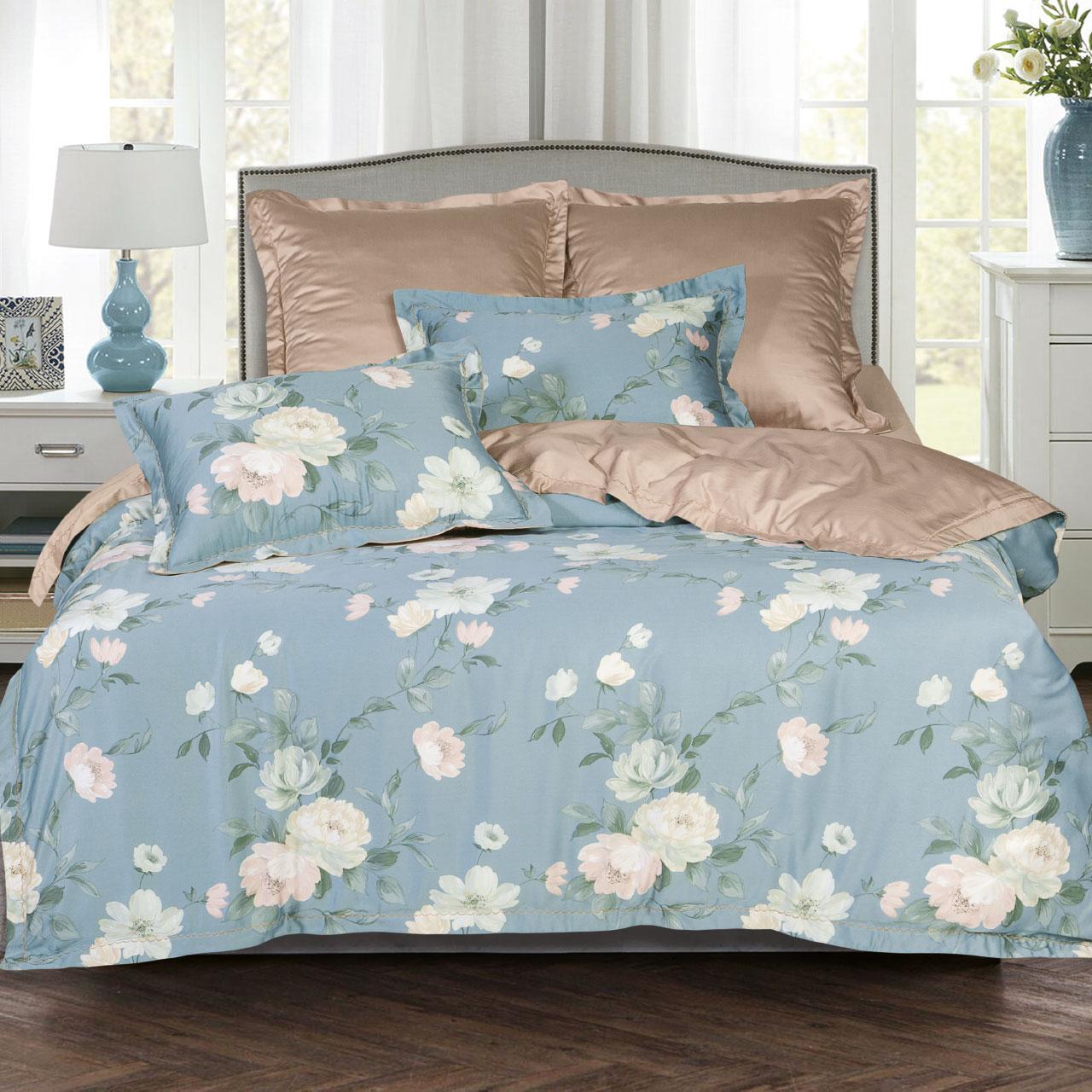цена Постельное белье iv62476 (тенсель) (2 спальный с Евро простынёй) онлайн в 2017 году