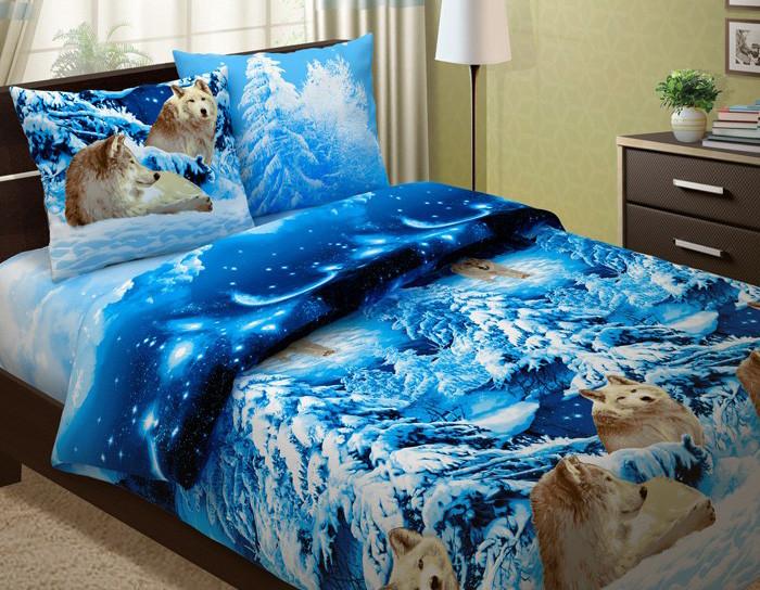 """Постельное белье """"Волки 3D"""" (бязь) 2 спальный с Евро простынёй"""