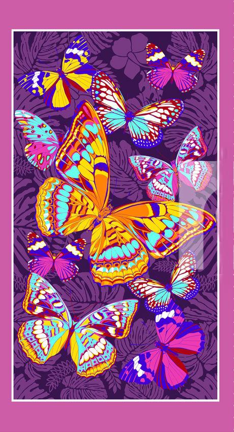 Полотенце банное Фиолетовые бабочки (80х150)