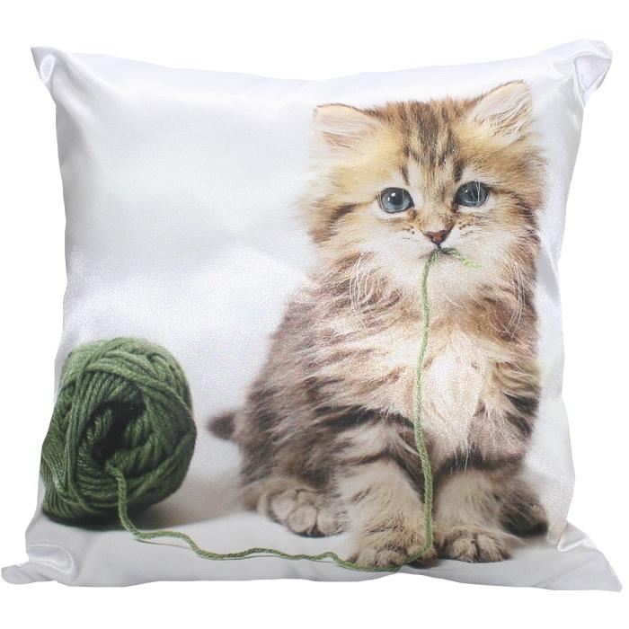 """Декоративная подушка """"Котёнок и клубок"""" 35*35"""