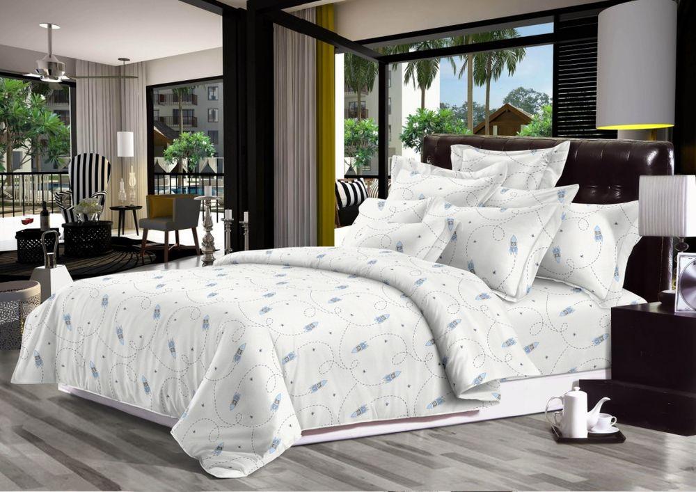 Постельное белье Ракеты (сатин) (1,5 спальный) постельное белье львы 3д сатин 1 5 спальный