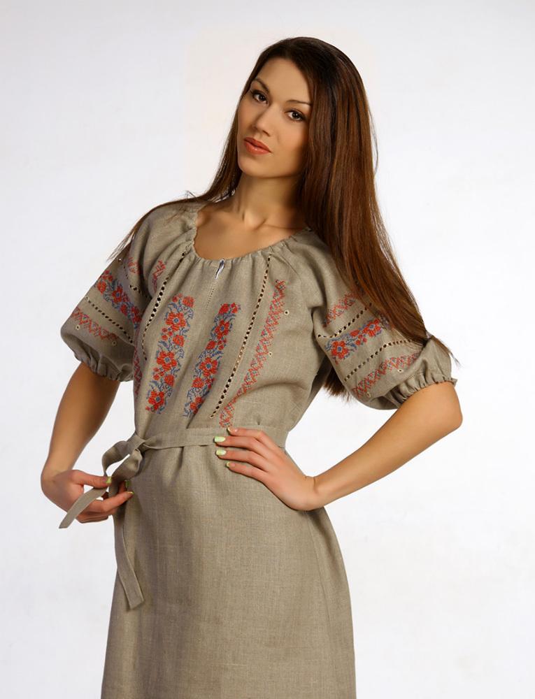 Платье льняное с вышивкой Василиса (большемерка)