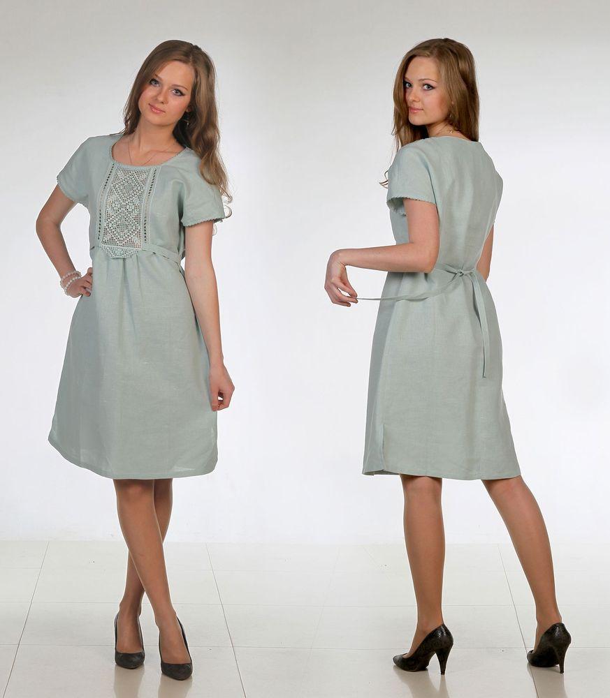 Льняное платье с ручной вышивкой Корнелия