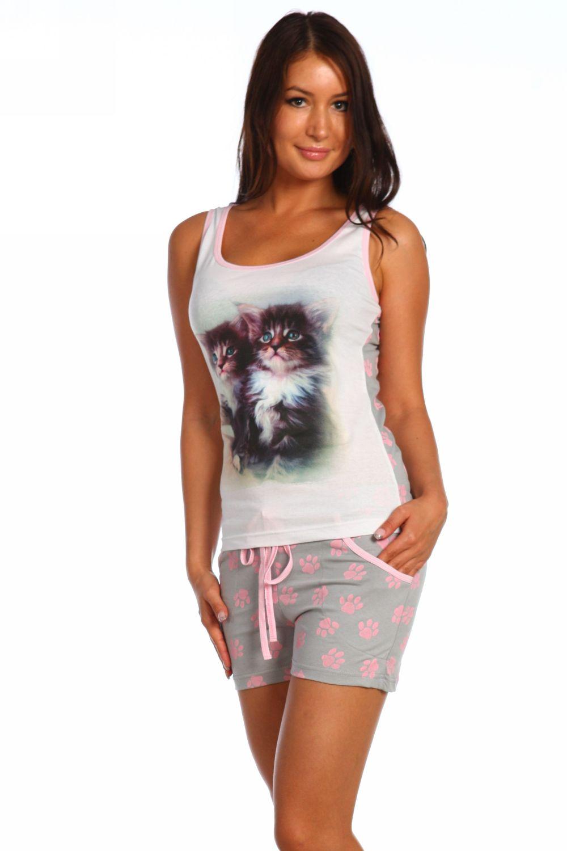 "Пижама женская ""Два котенка"" (шорты)"