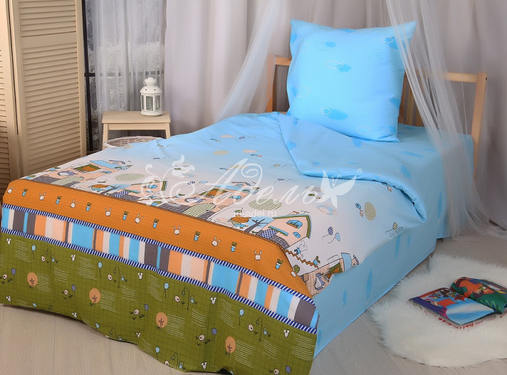 Постельное белье Детский городок (поплин) (1,5 спальный)