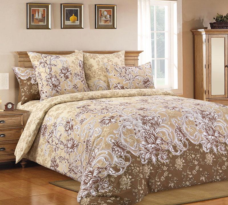 """Постельное белье """"Флориана"""" коричневый (бязь) 2 спальный с Евро простынёй"""