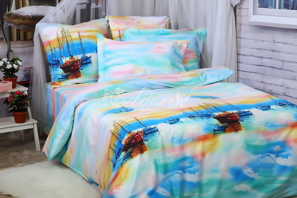 Постельное белье Олан (сатин) (2 спальный с Евро простынёй) постельное белье cleo кпб сатин набивной люкс дизайн 326 2 спальный