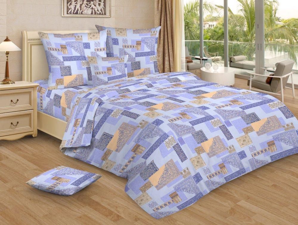 """Простыня """"Арабески голубой GS"""" (бязь) 1.5 спальный (145х215) от Grandstock"""