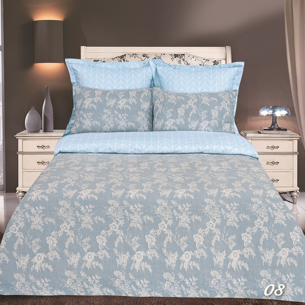 Постельное белье Букет голубой (сатин-жаккард) (2 спальный с Евро простынёй) постельное белье cleo кпб сатин набивной люкс дизайн 365 2 спальный