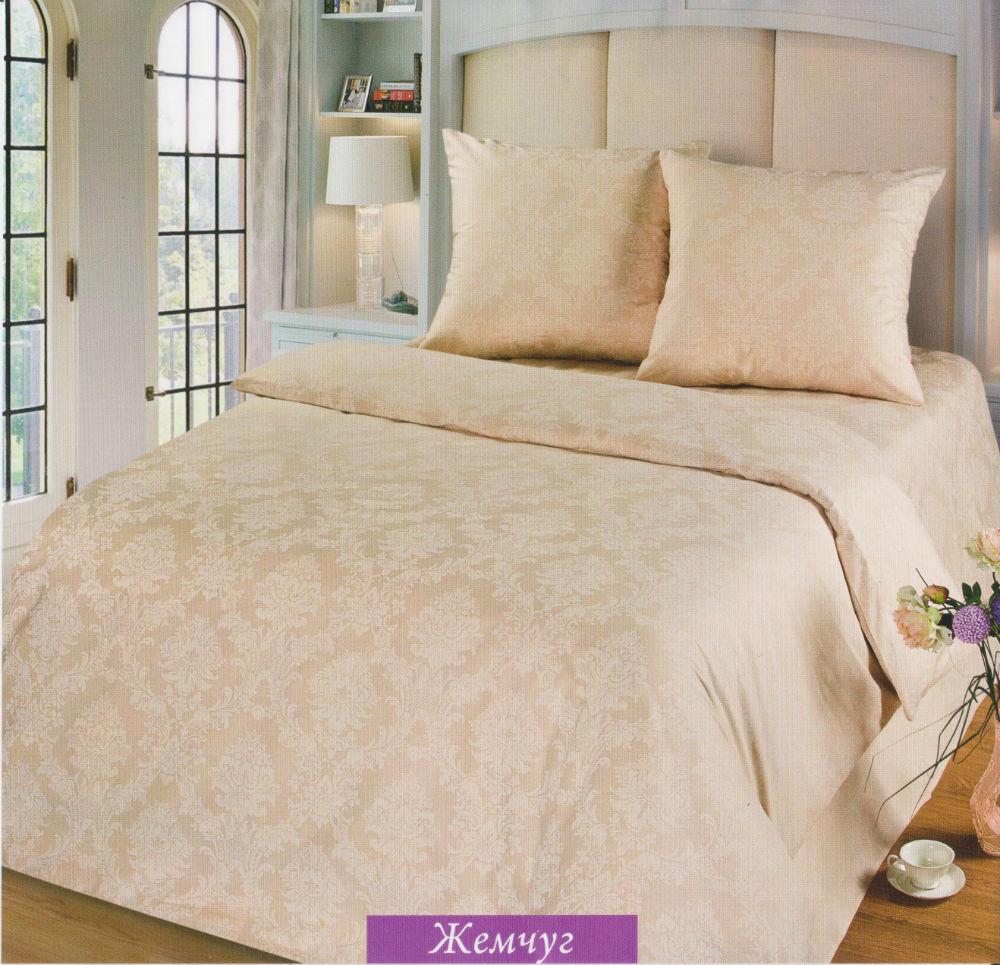 """Постельное белье """"Жемчуг"""" (поплин) 2 спальный с Евро простыней (простыня на резинке)"""
