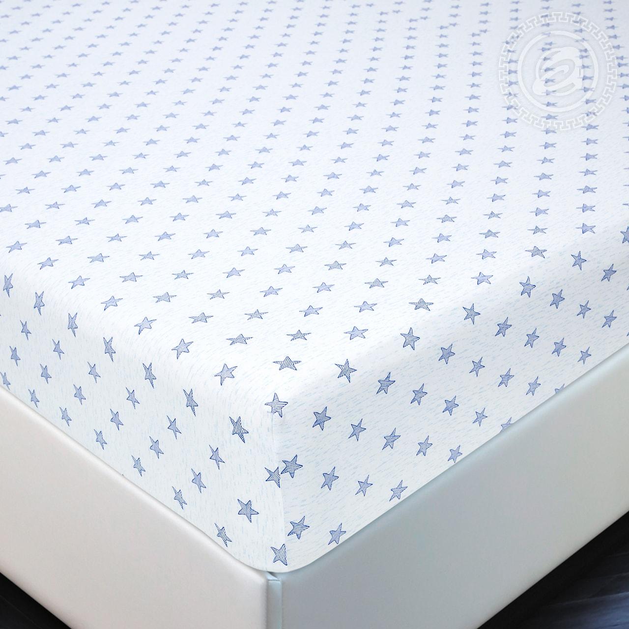 Простыня на резинке Звезды голубой (трикотаж) (90х200) простыни valtery простыня на резинке brant 90х200