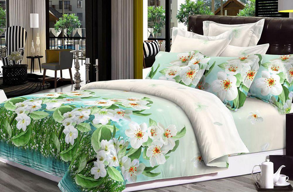 Постельное белье Весеннее цветение 3D (сатин) (1,5 спальный) постельное белье diva afrodita premium 3d pr 279 двуспальное