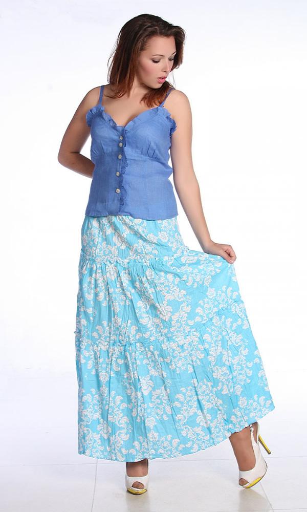 """Льняная юбка с рюшами """"Джейн"""" (большемерка) 48"""