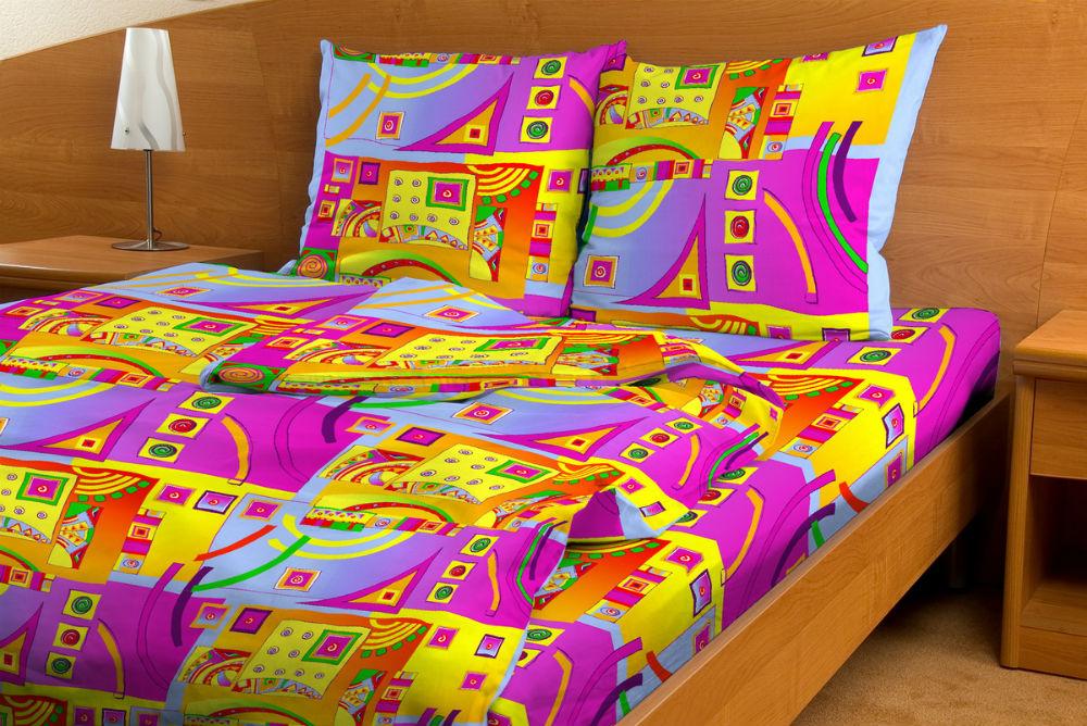"""Постельное белье """"Иллюзия сиреневый GS"""" (бязь) 1,5 спальный"""