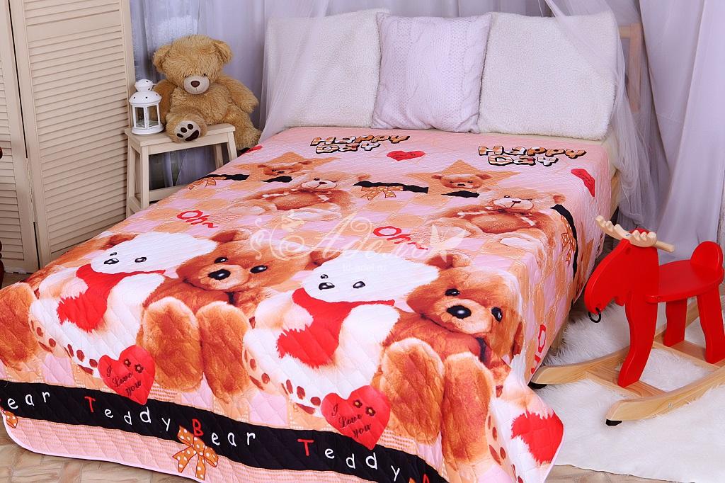 Покрывало Тедди красный (полисатин) (140х200)