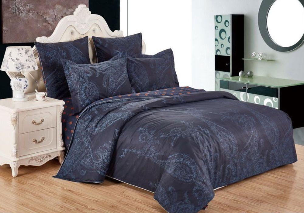 """Постельное белье """"Ночь"""" (сатин) 2 спальный с Евро простынёй"""