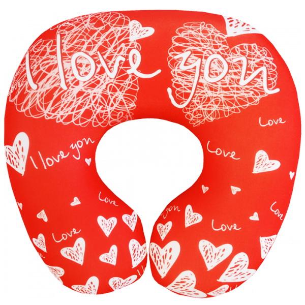 """Подушка под шею """"I love you"""" 35*35 от Grandstock"""