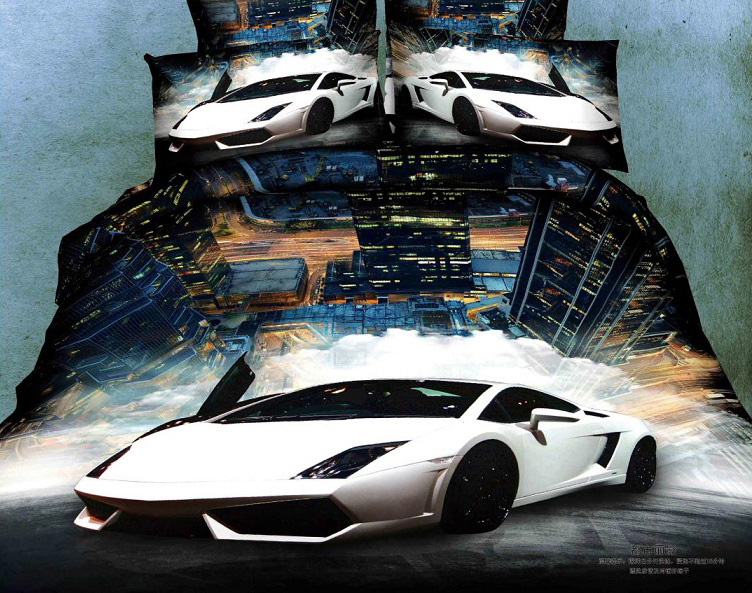 "Постельное белье ""Luxury car 3D"" (сатин) 2 спальный с Евро простынёй"
