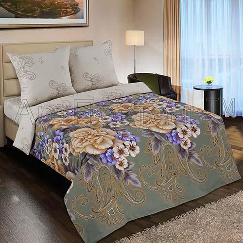 """Постельное белье """"Золотая вышивка"""" (поплин) 2 спальный с Евро простынёй"""