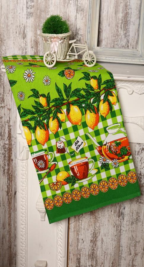 "Полотенце кухонное ""Лимоны"" зеленый 40х75"