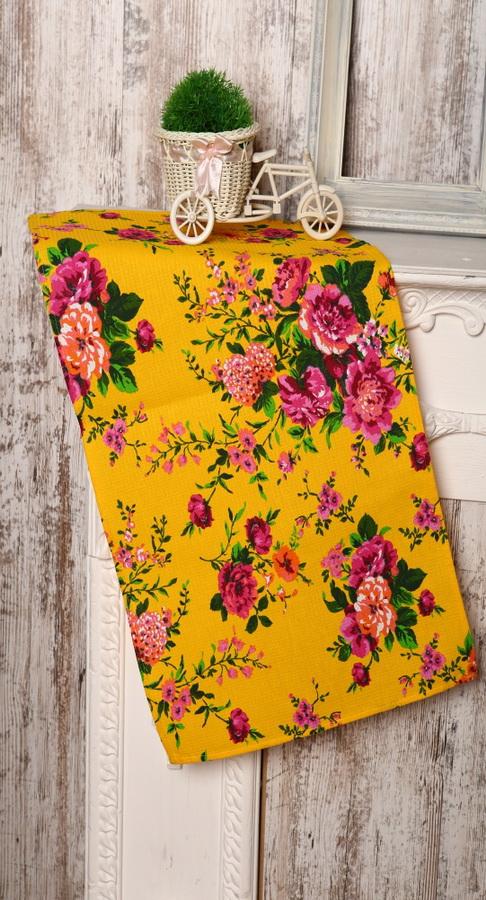 "Полотенце кухонное ""Цветы"" желтый 40х75"