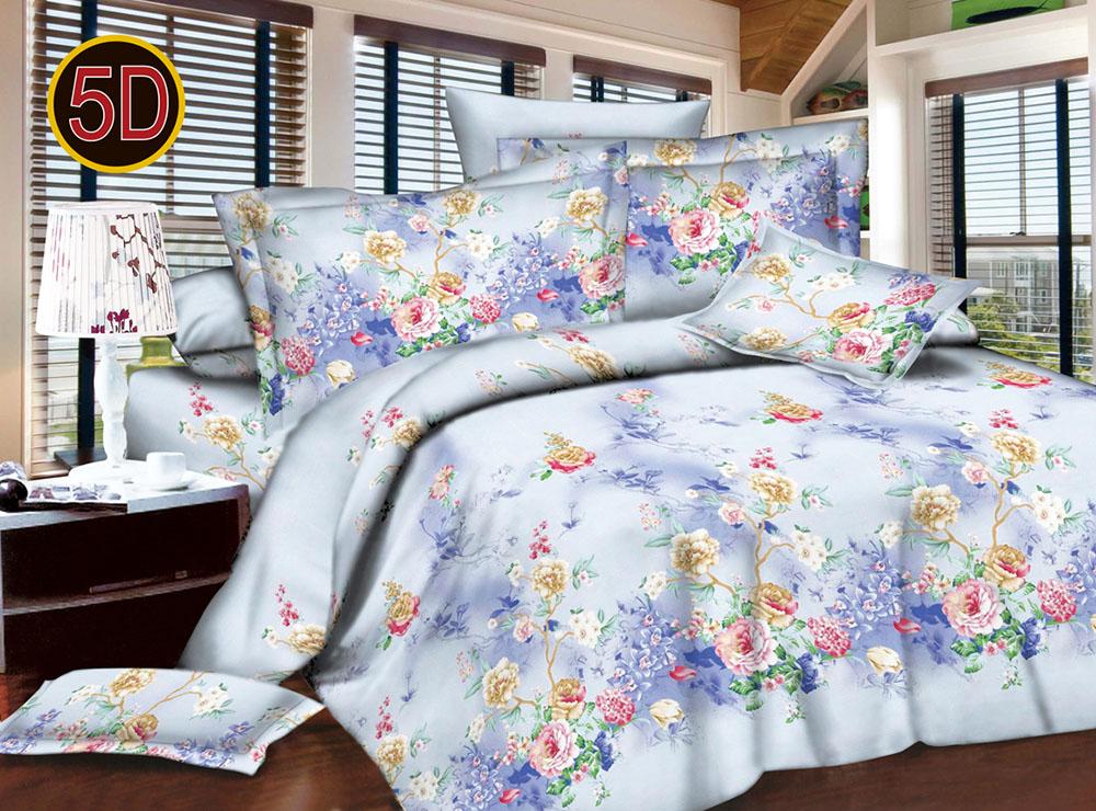 Постельное белье 'Цветочный микс 5D (полисатин) (1,5 спальный) постельное белье эго комплект 1 5 спальный полисатин
