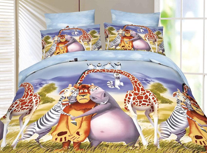 Постельное белье Зверушки 3D (полисатин) (1,5 спальный) постельное белье эго комплект 1 5 спальный полисатин