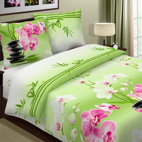 """Постельное белье """"Фен-шуй"""" зеленый (поплин) (1,5 спальный)"""