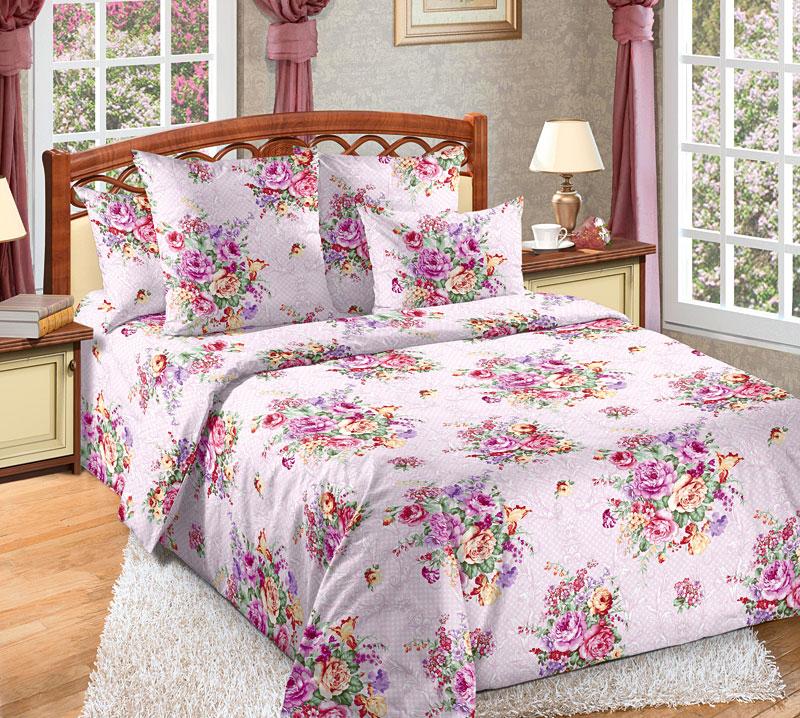 """Постельное белье """"Розовый букет"""" (перкаль) 1,5 спальный"""