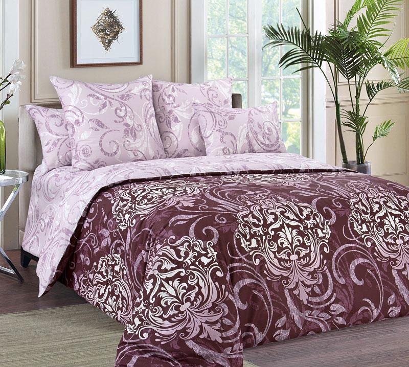 Постельное белье Гранд бордовый (перкаль) (1,5 спальный) постельное белье примавера постельное белье гранд 2 спал