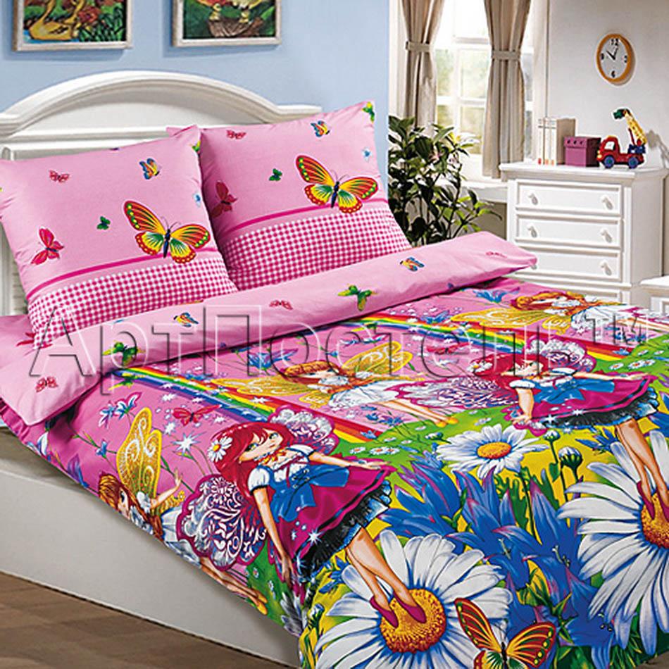 Постельное белье Маленькая фея розовый (поплин) (1,5 спальный) постельное белье этель зелёно серые зигзаги комплект 1 5 спальный поплин 2565810