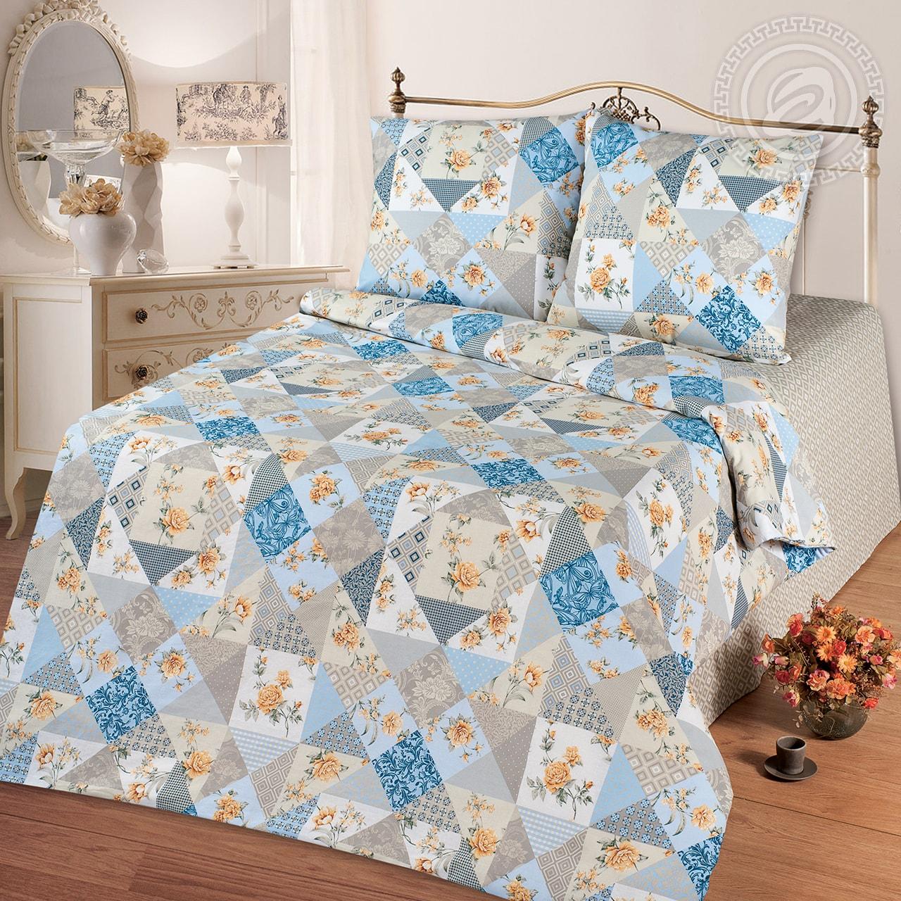 Постельное белье Лоскутная мозаика голубой (бязь) (1,5 спальный) постельное белье лазурит голубой бязь 1 5 спальный