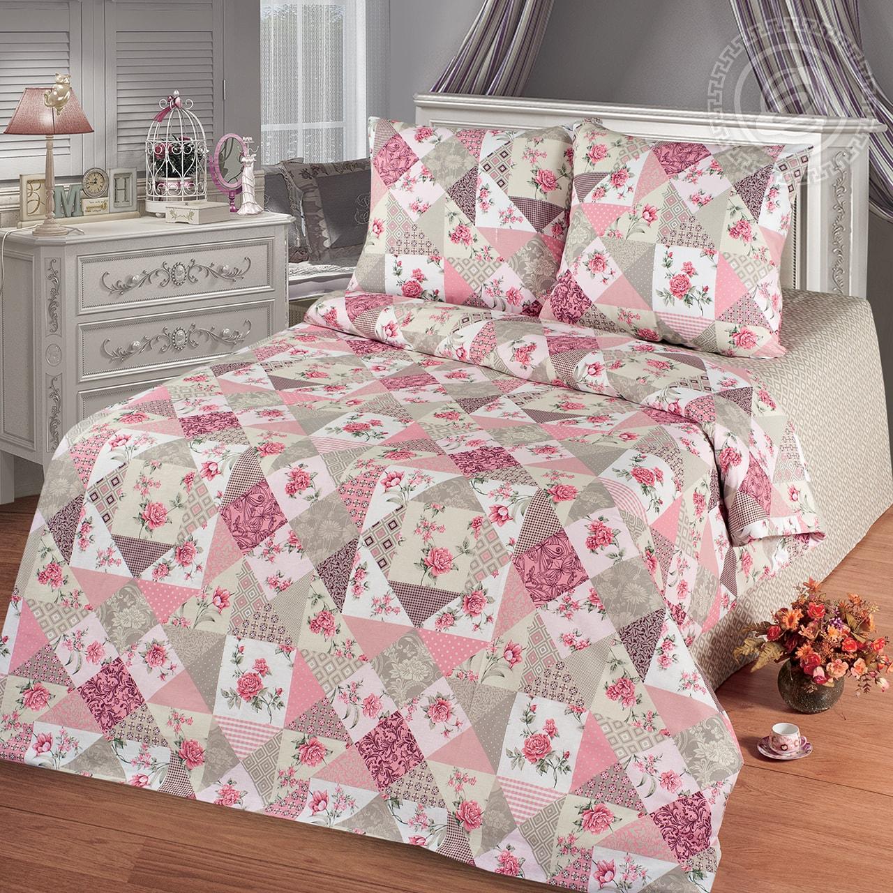 Фото - Постельное белье Лоскутная мозаика розовый (бязь) (1,5 спальный) постельное белье этель кружева комплект 2 спальный поплин 2670978