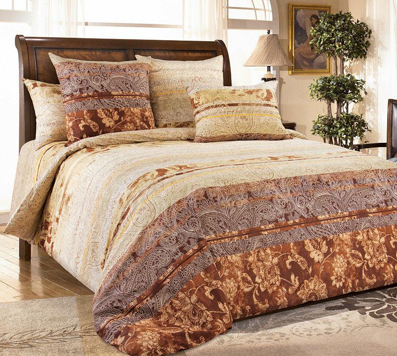 """Постельное белье """"Амбассадор коричневый"""" (перкаль) 2 спальный"""