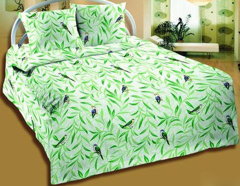 """Постельное белье """"Птицы зеленые """" (бязь) 1,5 спальный от Grandstock"""