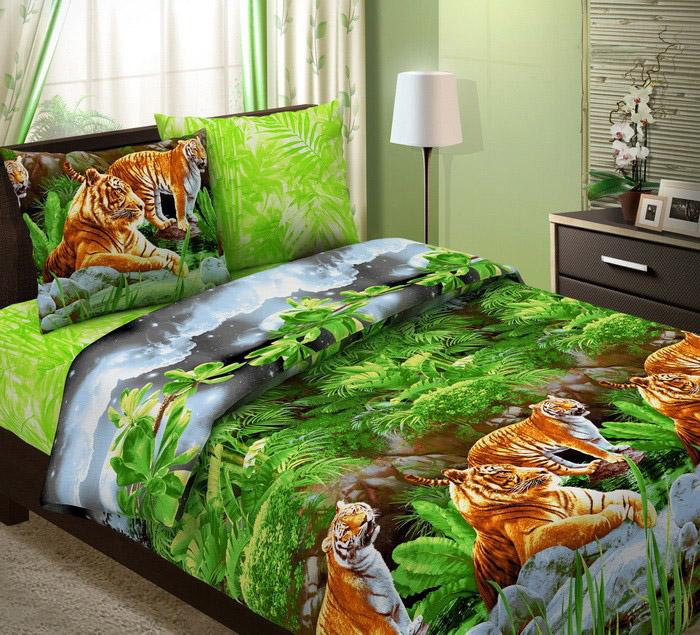 "Пододеяльник ""Тигры"" (бязь) 2 спальный (175х215)"
