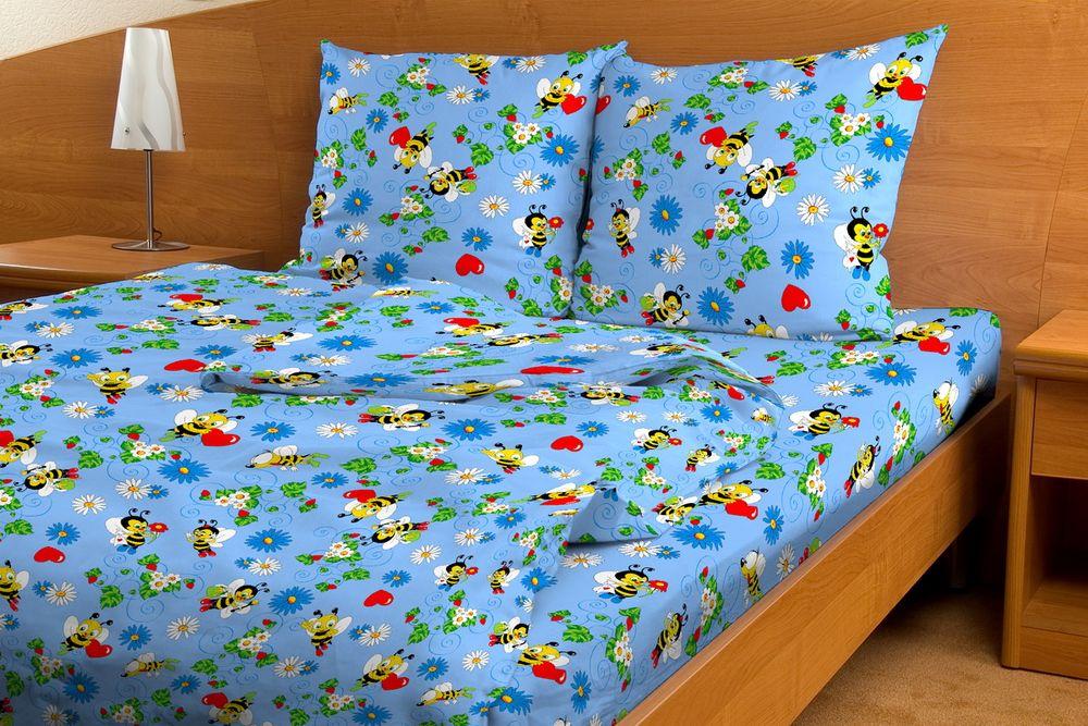 Постельное белье Пчелки GS голубой (бязь) (Ясельный) постельное белье трансформеры бязь ясельный