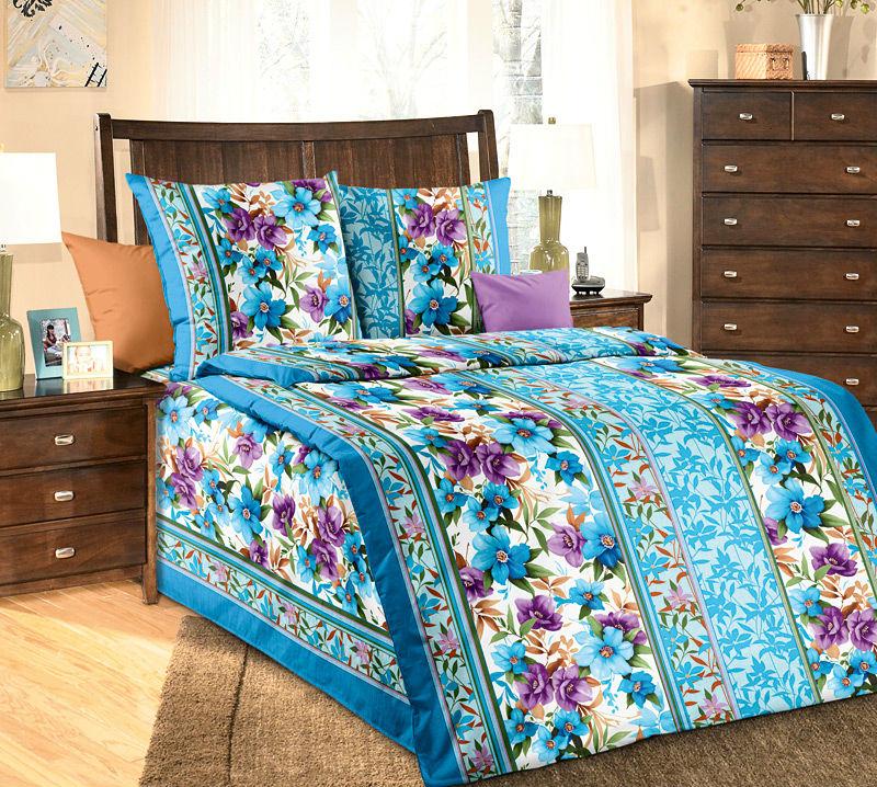 """Постельное белье """"Лазурит"""" голубой (бязь) 1,5 спальный"""