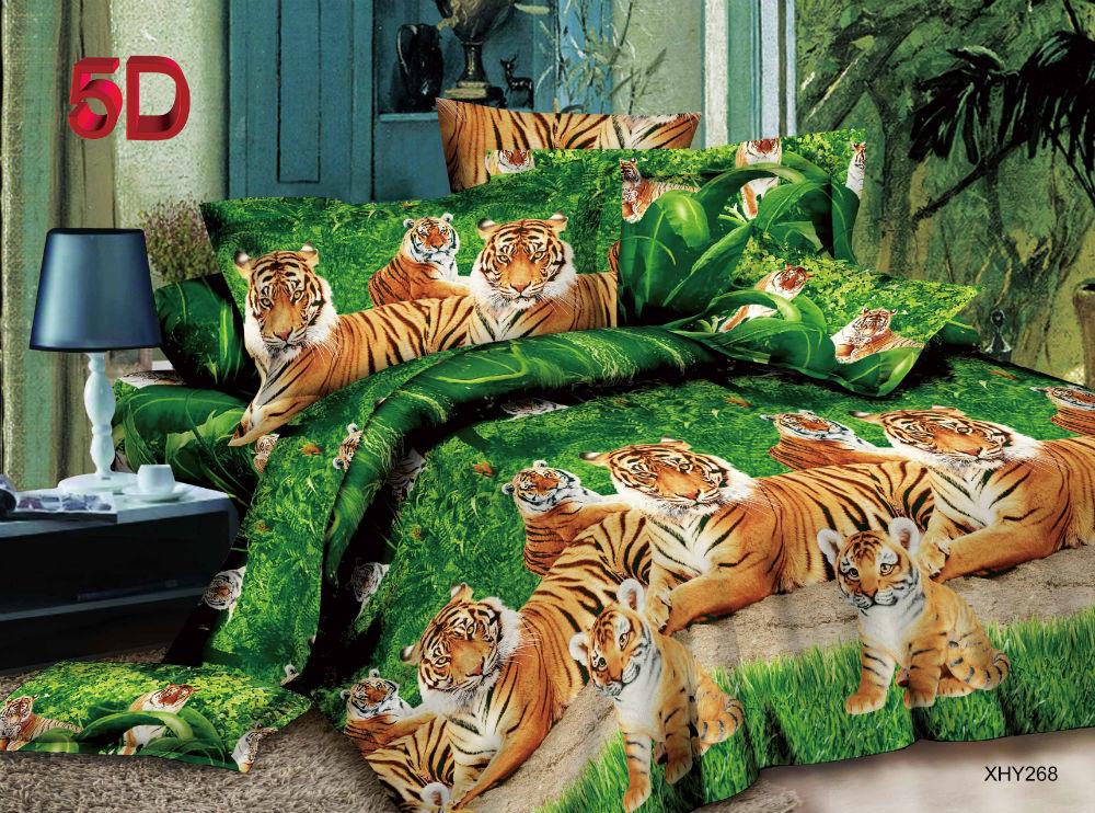 """Постельное белье """"Тигриная семья"""" 5D (полисатин) 1,5 спальный (простыня на резинке)"""