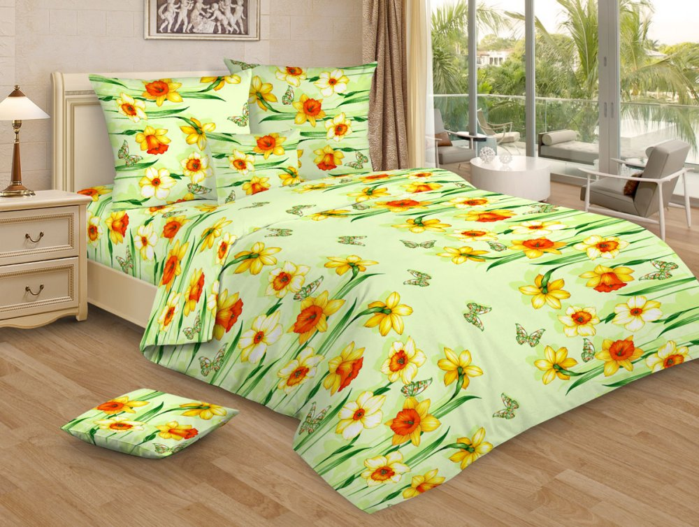 Постельное белье Весенний денек зеленый GS (бязь) (1,5 спальный) постельное белье размеры