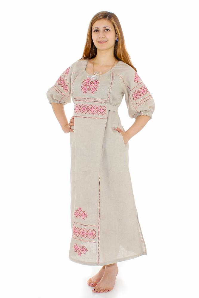 Платье льняное Славянка (большемерка)
