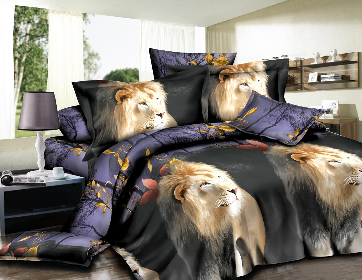 Постельное белье Львы (полисатин) (1,5 спальный) постельное белье мегаполис 5d полисатин 1 5 спальный