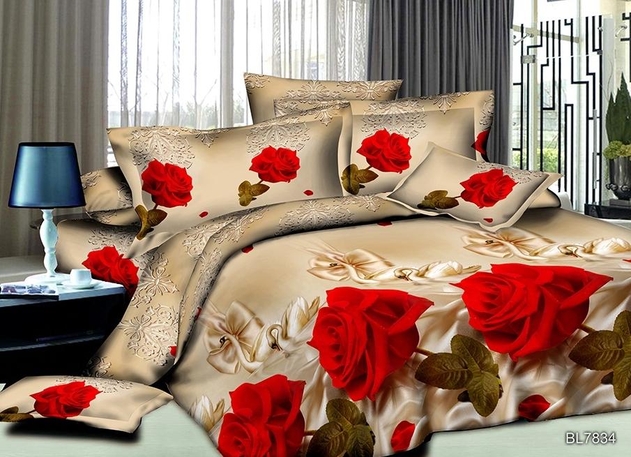 Постельное белье Лебеди и розы (полисатин) (1,5 спальный) постельное белье мегаполис 5d полисатин 1 5 спальный