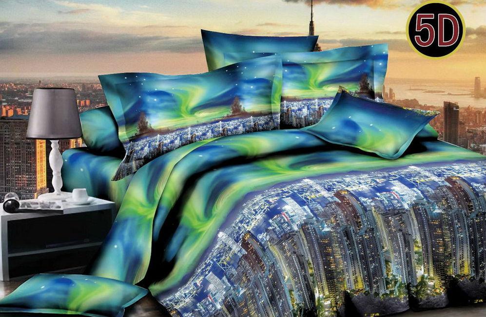 """Постельное белье """"Мегаполис"""" 5D (полисатин) 2 спальный с Евро простынёй"""